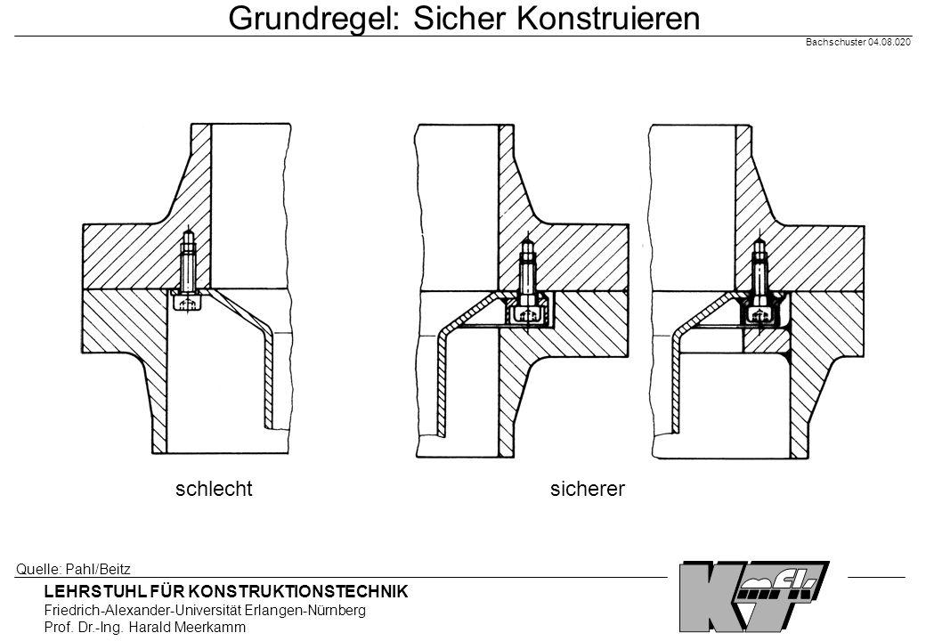 LEHRSTUHL FÜR KONSTRUKTIONSTECHNIK Friedrich-Alexander-Universität Erlangen-Nürnberg Prof. Dr.-Ing. Harald Meerkamm Bachschuster 04.08.020 Grundregel: