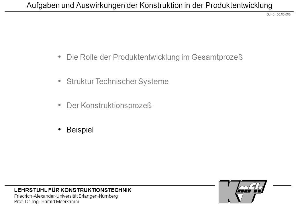 LEHRSTUHL FÜR KONSTRUKTIONSTECHNIK Friedrich-Alexander-Universität Erlangen-Nürnberg Prof. Dr.-Ing. Harald Meerkamm Aufgaben und Auswirkungen der Kons