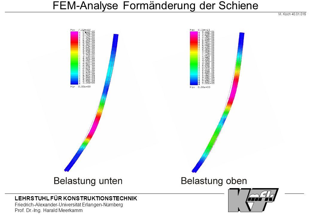 LEHRSTUHL FÜR KONSTRUKTIONSTECHNIK Friedrich-Alexander-Universität Erlangen-Nürnberg Prof. Dr.-Ing. Harald Meerkamm FEM-Analyse Formänderung der Schie