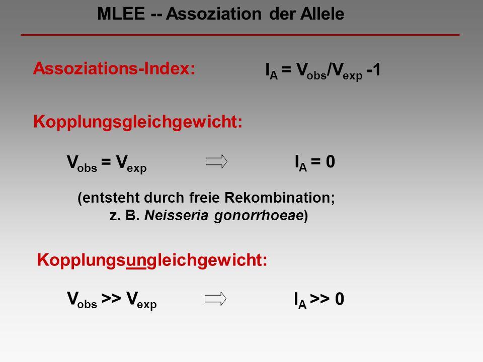 Assoziations-Index: V obs >> V exp V obs = V exp Kopplungsgleichgewicht: I A = V obs /V exp -1 I A = 0 I A >> 0 Kopplungsungleichgewicht: (entsteht du