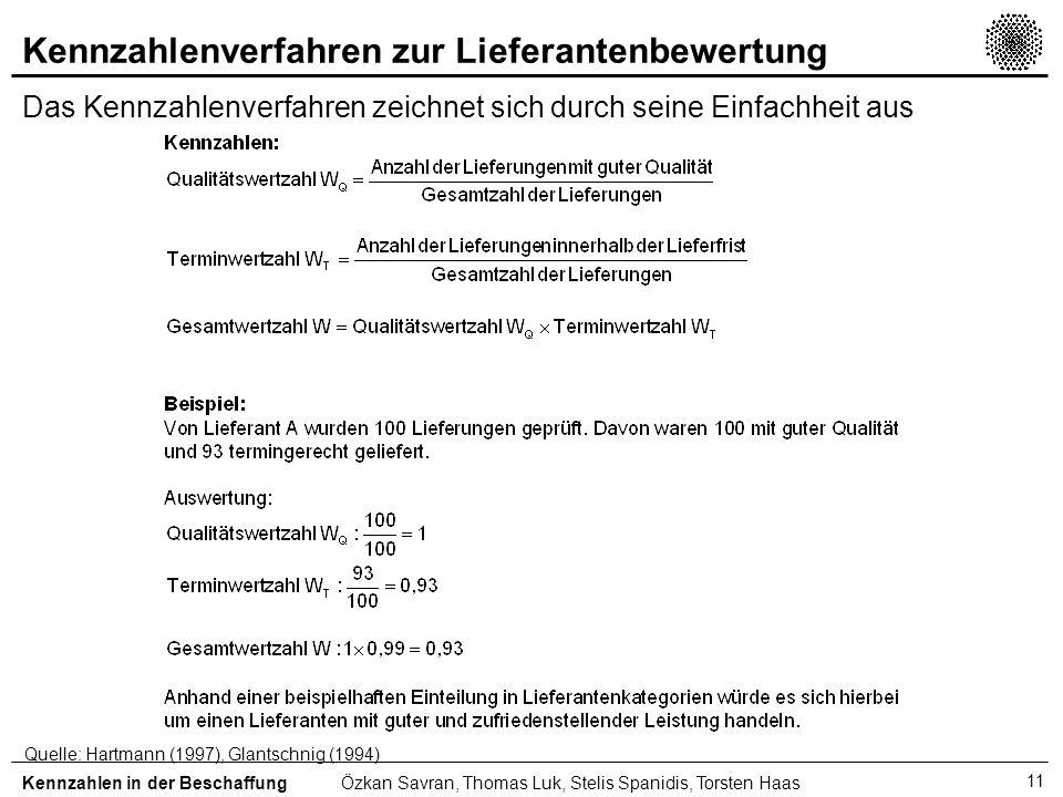 11 Kennzahlenverfahren zur Lieferantenbewertung Das Kennzahlenverfahren zeichnet sich durch seine Einfachheit aus Kennzahlen in der BeschaffungÖzkan S