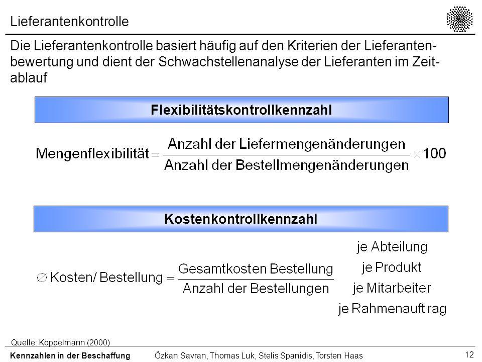 12 Lieferantenkontrolle Die Lieferantenkontrolle basiert häufig auf den Kriterien der Lieferanten- bewertung und dient der Schwachstellenanalyse der L