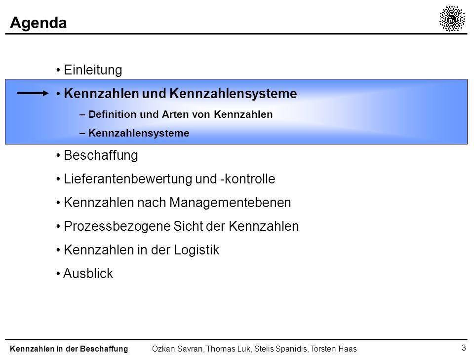 3 Einleitung Kennzahlen und Kennzahlensysteme – Definition und Arten von Kennzahlen – Kennzahlensysteme Beschaffung Lieferantenbewertung und -kontroll