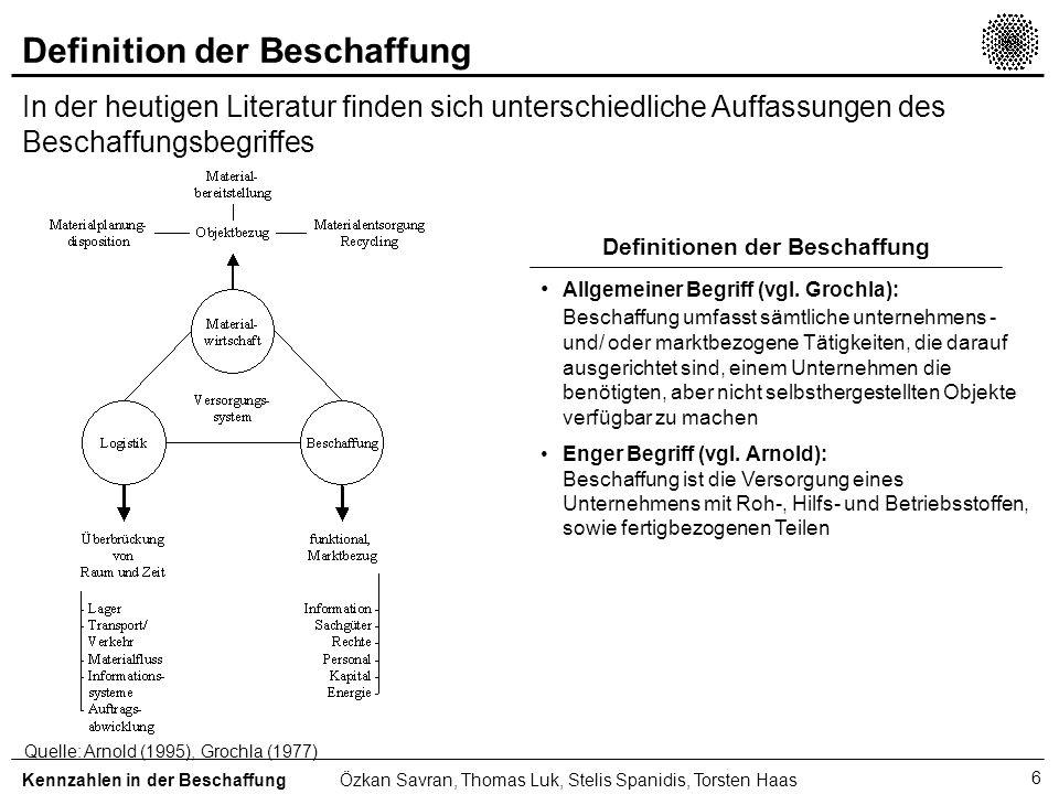 7 Instrumente der Beschaffung Es liegen bisher nur theoretische Grundkonzeptionen für ein umfassendes Beschaffungscontrolling vor Kennzahlen in der BeschaffungÖzkan Savran, Thomas Luk, Stelis Spanidis, Torsten Haas Quelle: Glantschnig (1994), Piontek (1994), Reinschmidt (1989) Beschaffungscontrolling Beschaffungs- frühaufklärungs- system Beschaffungs- marktforschung Beschaffungs- Kosten -und Leistungsrechnung Informationen über das politische und wirtschaftliche Umfeld Informationen über die Angebotsentwicklung Informationen über die Nachfrageentwicklung der Produktionsfaktoren Informationen über die Wirkung beschaffungspolitischer Instrumente Lieferantenbewertung als spezielles Instrument der Beschaffungsmarktforschung