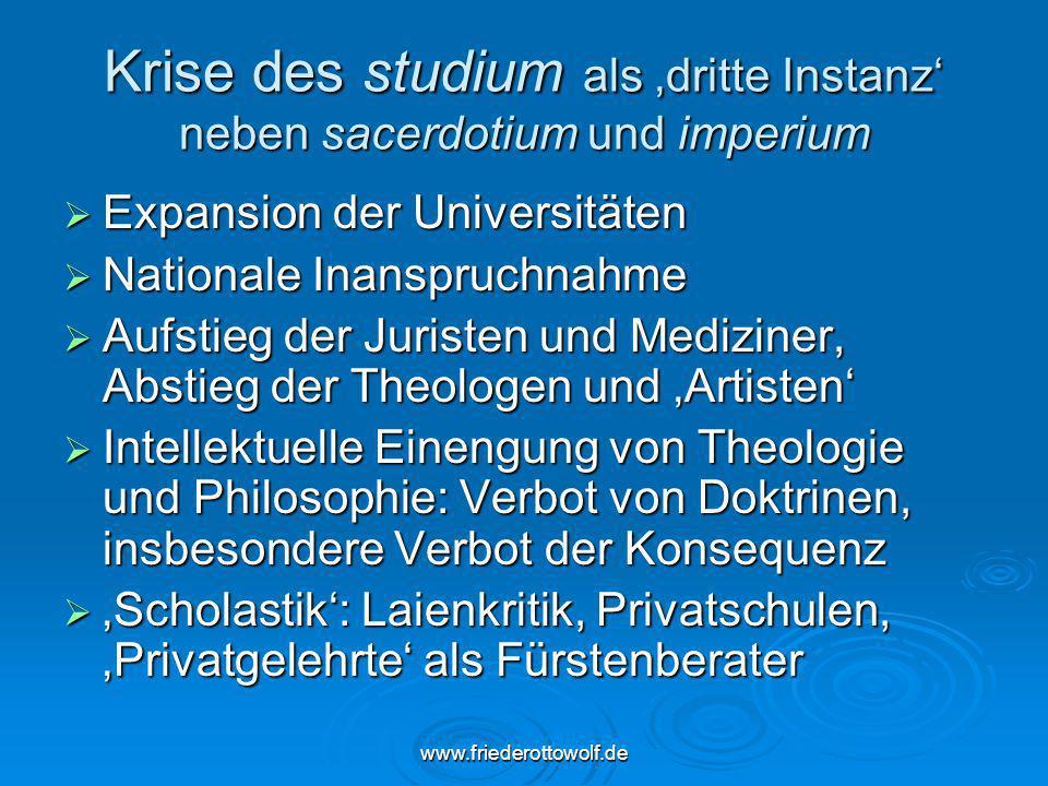 www.friederottowolf.de Krise des studium als dritte Instanz neben sacerdotium und imperium Expansion der Universitäten Expansion der Universitäten Nat