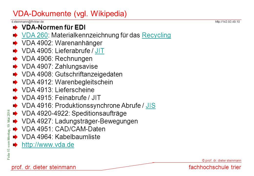 d.steinmann@fh-trier.dehttp://143.93.49.10 prof. dr. dieter steinmannfachhochschule trier © prof. dr. dieter steinmann Folie 15 vom Montag, 19. Mai 20