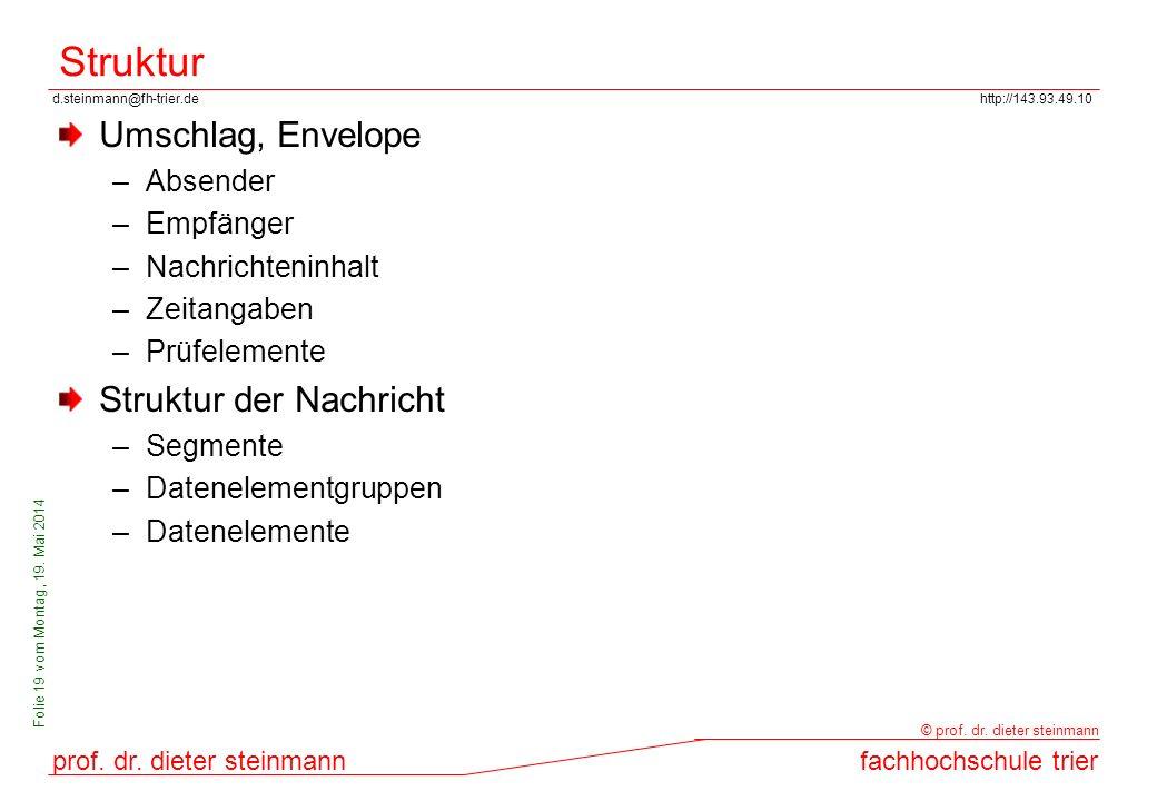 d.steinmann@fh-trier.dehttp://143.93.49.10 prof. dr. dieter steinmannfachhochschule trier © prof. dr. dieter steinmann Folie 19 vom Montag, 19. Mai 20