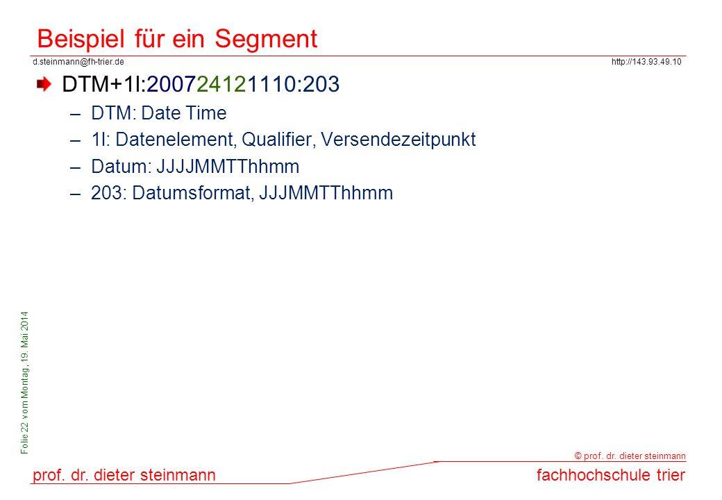 d.steinmann@fh-trier.dehttp://143.93.49.10 prof. dr. dieter steinmannfachhochschule trier © prof. dr. dieter steinmann Folie 22 vom Montag, 19. Mai 20