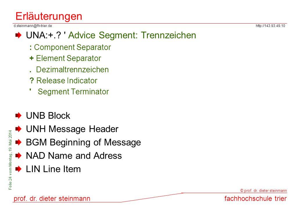 d.steinmann@fh-trier.dehttp://143.93.49.10 prof. dr. dieter steinmannfachhochschule trier © prof. dr. dieter steinmann Folie 24 vom Montag, 19. Mai 20