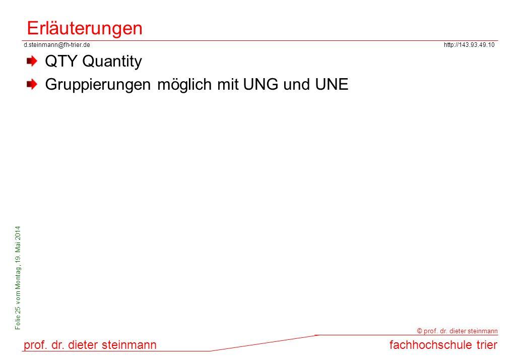 d.steinmann@fh-trier.dehttp://143.93.49.10 prof. dr. dieter steinmannfachhochschule trier © prof. dr. dieter steinmann Folie 25 vom Montag, 19. Mai 20