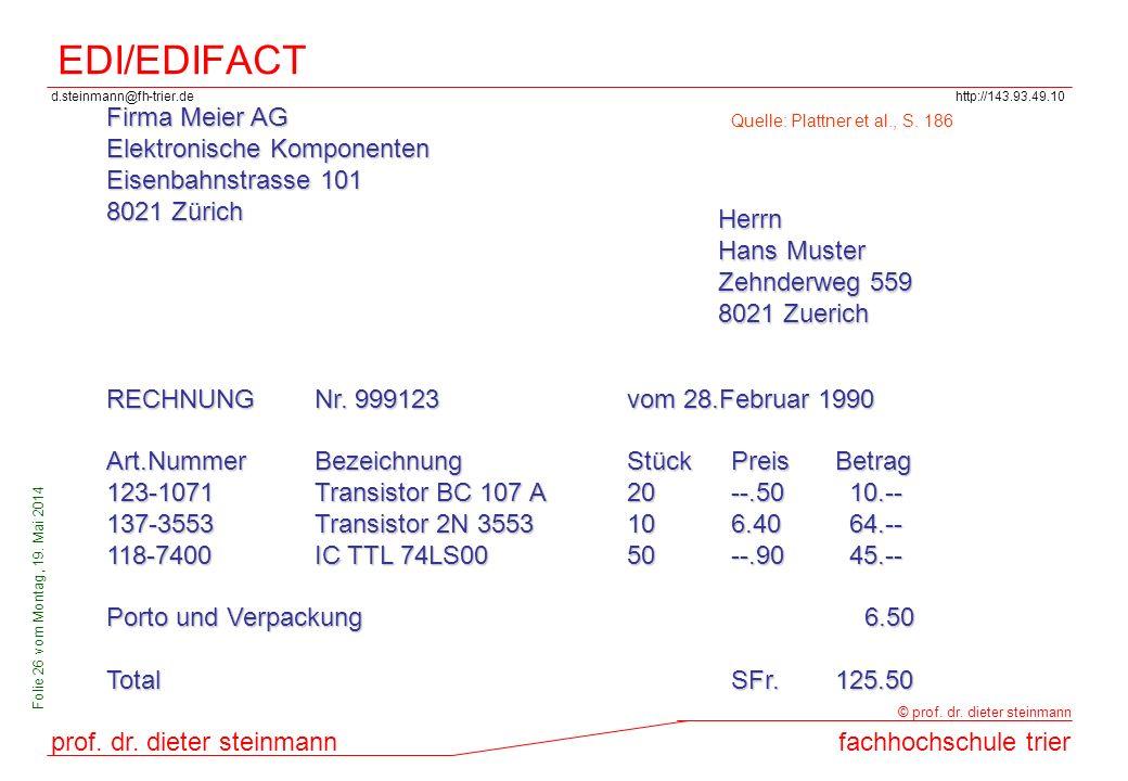 d.steinmann@fh-trier.dehttp://143.93.49.10 prof. dr. dieter steinmannfachhochschule trier © prof. dr. dieter steinmann Folie 26 vom Montag, 19. Mai 20