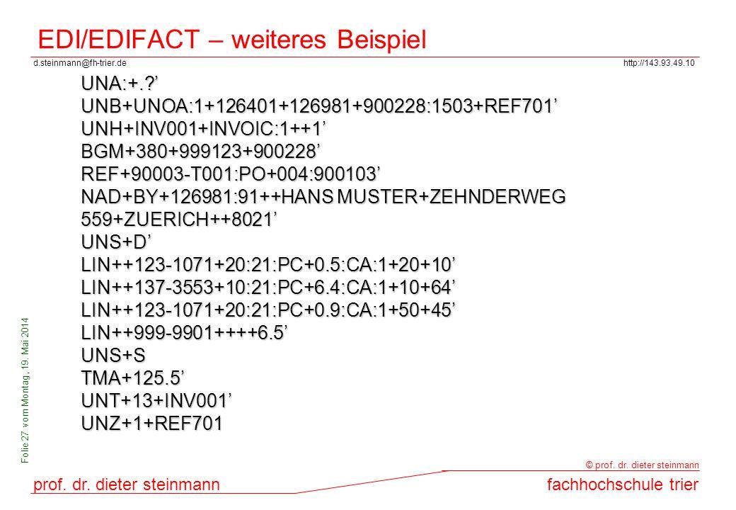 d.steinmann@fh-trier.dehttp://143.93.49.10 prof. dr. dieter steinmannfachhochschule trier © prof. dr. dieter steinmann Folie 27 vom Montag, 19. Mai 20