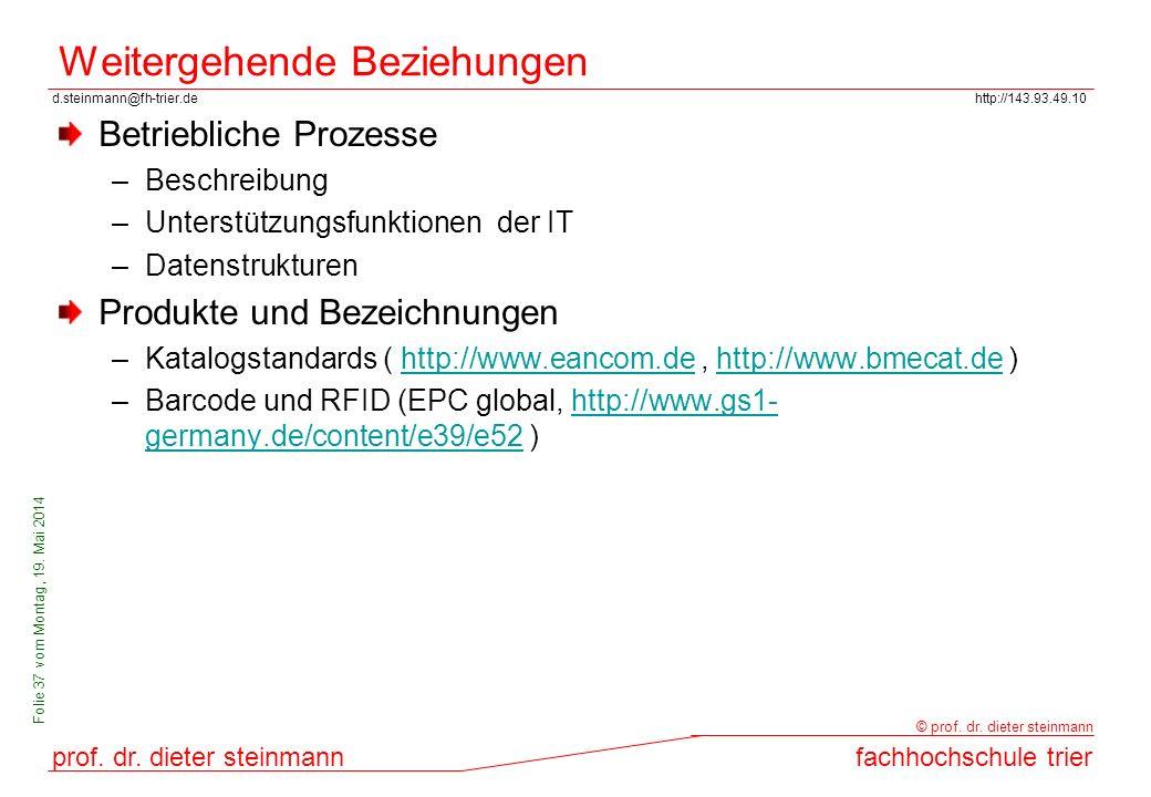 d.steinmann@fh-trier.dehttp://143.93.49.10 prof. dr. dieter steinmannfachhochschule trier © prof. dr. dieter steinmann Folie 37 vom Montag, 19. Mai 20