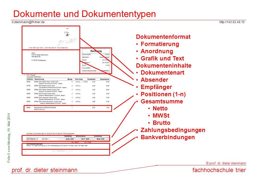 d.steinmann@fh-trier.dehttp://143.93.49.10 prof. dr. dieter steinmannfachhochschule trier © prof. dr. dieter steinmann Folie 5 vom Montag, 19. Mai 201