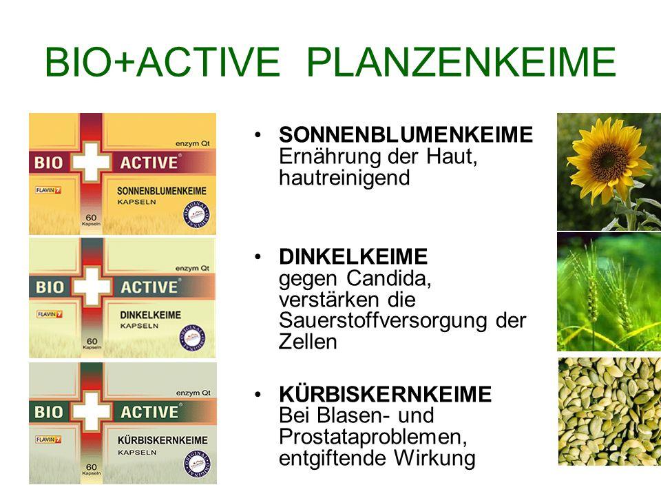 BIO+ACTIVE PLANZENKEIME SONNENBLUMENKEIME Ernährung der Haut, hautreinigend DINKELKEIME gegen Candida, verstärken die Sauerstoffversorgung der Zellen