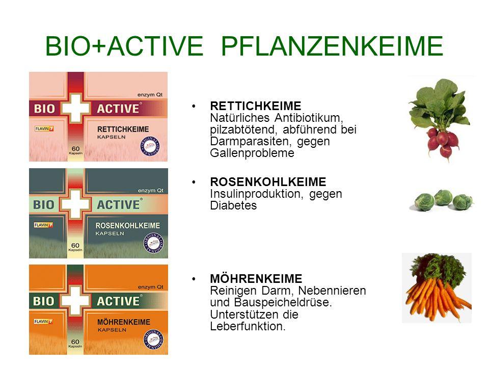 BIO+ACTIVE PFLANZENKEIME RETTICHKEIME Natürliches Antibiotikum, pilzabtötend, abführend bei Darmparasiten, gegen Gallenprobleme ROSENKOHLKEIME Insulin