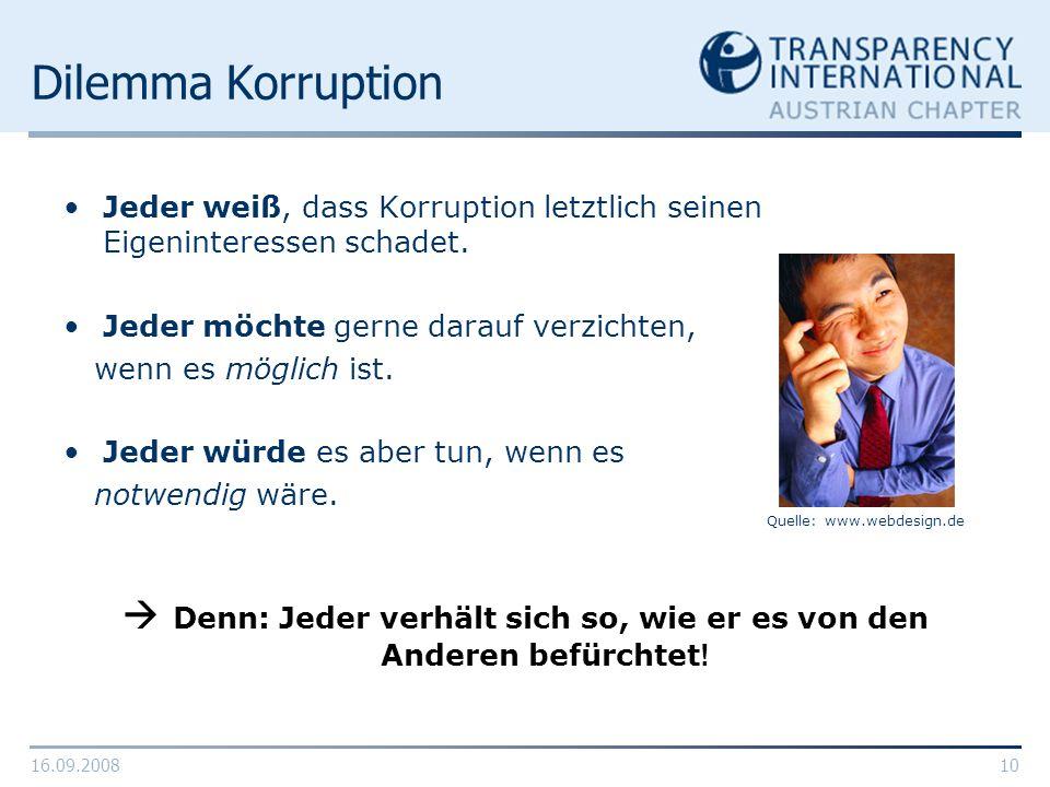 16.09.200810 Dilemma Korruption Jeder weiß, dass Korruption letztlich seinen Eigeninteressen schadet. Jeder möchte gerne darauf verzichten, wenn es mö