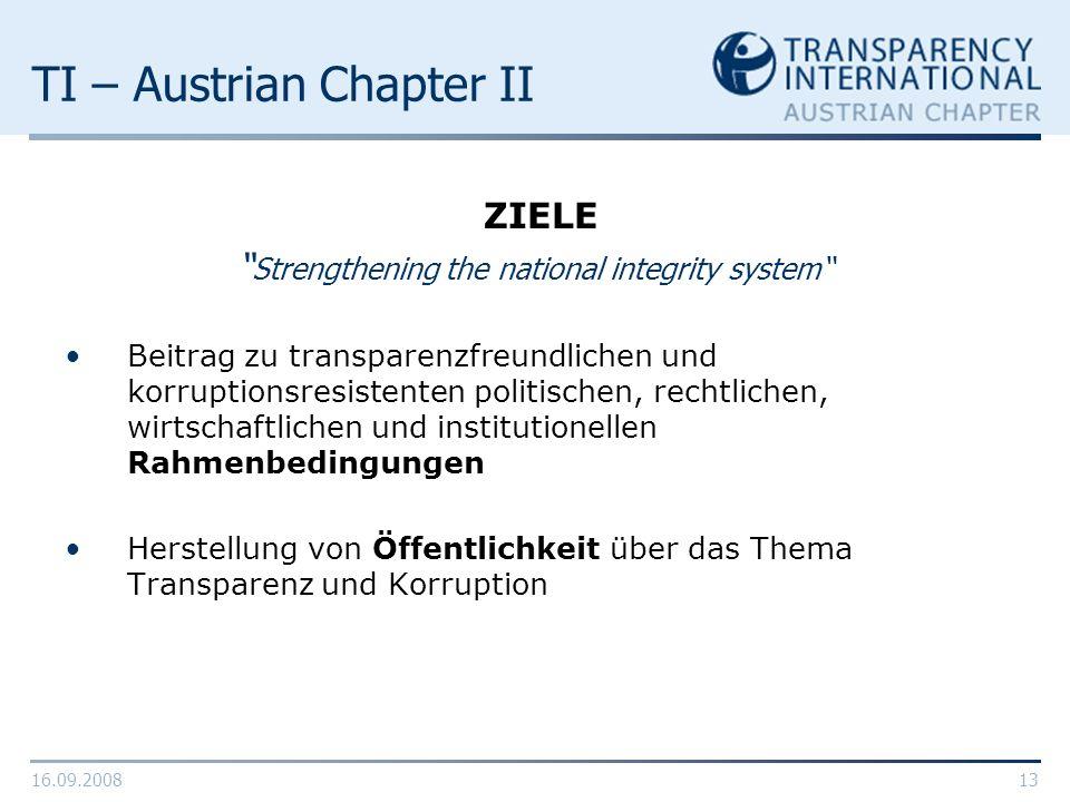 16.09.200813 TI – Austrian Chapter II ZIELE Strengthening the national integrity system Beitrag zu transparenzfreundlichen und korruptionsresistenten