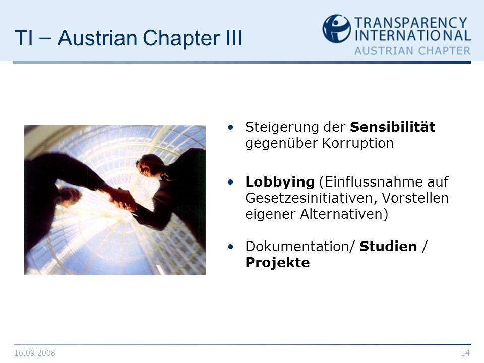 16.09.200814 TI – Austrian Chapter III Steigerung der Sensibilität gegenüber Korruption Lobbying (Einflussnahme auf Gesetzesinitiativen, Vorstellen ei