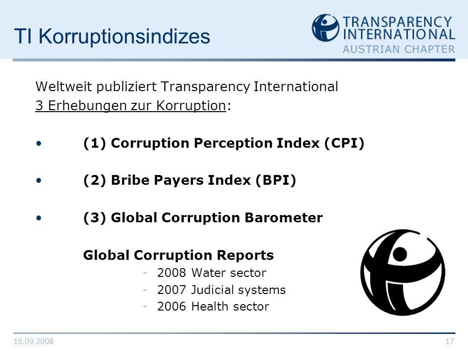 16.09.200817 TI Korruptionsindizes Weltweit publiziert Transparency International 3 Erhebungen zur Korruption: (1) Corruption Perception Index (CPI) (