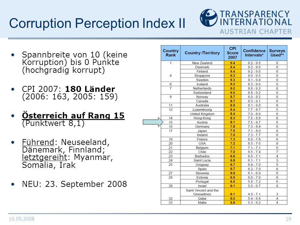 16.09.200819 Corruption Perception Index II Spannbreite von 10 (keine Korruption) bis 0 Punkte (hochgradig korrupt) CPI 2007: 180 Länder (2006: 163, 2