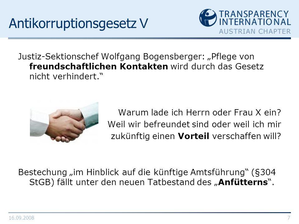 16.09.20087 Antikorruptionsgesetz V Justiz-Sektionschef Wolfgang Bogensberger: Pflege von freundschaftlichen Kontakten wird durch das Gesetz nicht ver