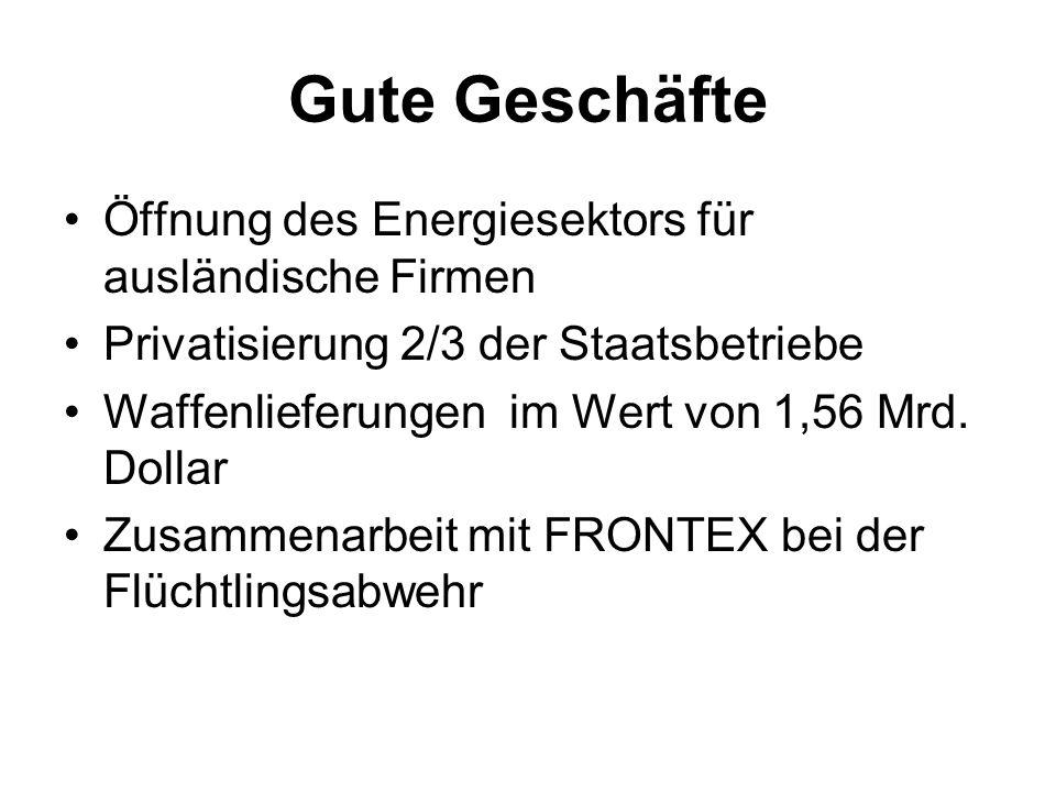 Gute Geschäfte Öffnung des Energiesektors für ausländische Firmen Privatisierung 2/3 der Staatsbetriebe Waffenlieferungen im Wert von 1,56 Mrd. Dollar