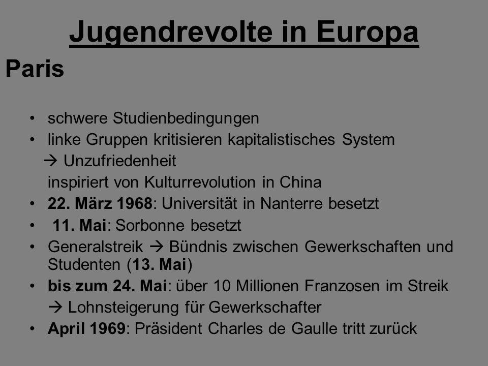 Jugendrevolte in Europa schwere Studienbedingungen linke Gruppen kritisieren kapitalistisches System Unzufriedenheit inspiriert von Kulturrevolution in China 22.