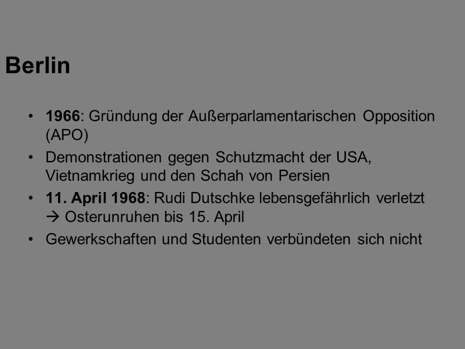 1966: Gründung der Außerparlamentarischen Opposition (APO) Demonstrationen gegen Schutzmacht der USA, Vietnamkrieg und den Schah von Persien 11. April