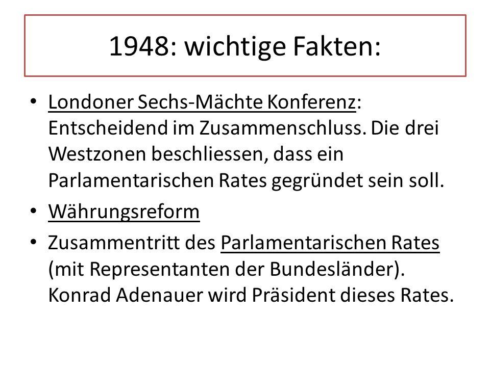 1948: wichtige Fakten: Londoner Sechs-Mächte Konferenz: Entscheidend im Zusammenschluss. Die drei Westzonen beschliessen, dass ein Parlamentarischen R