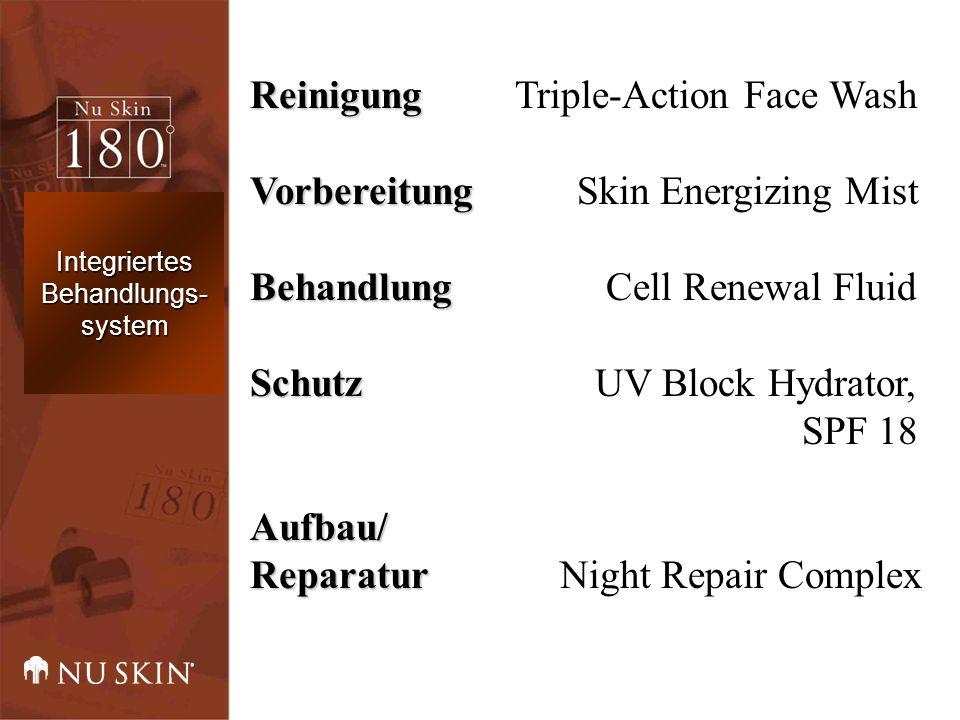 Reinigung Reinigung Triple-Action Face Wash Vorbereitung Vorbereitung Skin Energizing Mist Behandlung Behandlung Cell Renewal Fluid Schutz Schutz UV Block Hydrator, SPF 18Aufbau/ Reparatur Reparatur Night Repair Complex Integriertes Behandlungs- system