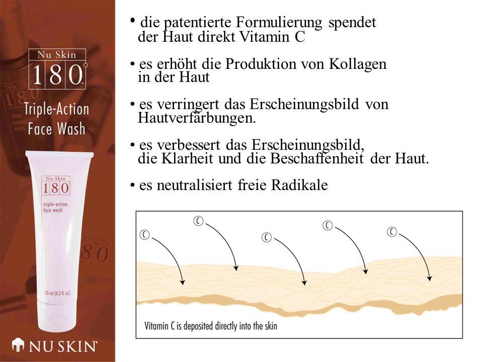 die patentierte Formulierung spendet der Haut direkt Vitamin C es erhöht die Produktion von Kollagen in der Haut es verringert das Erscheinungsbild von Hautverfärbungen.