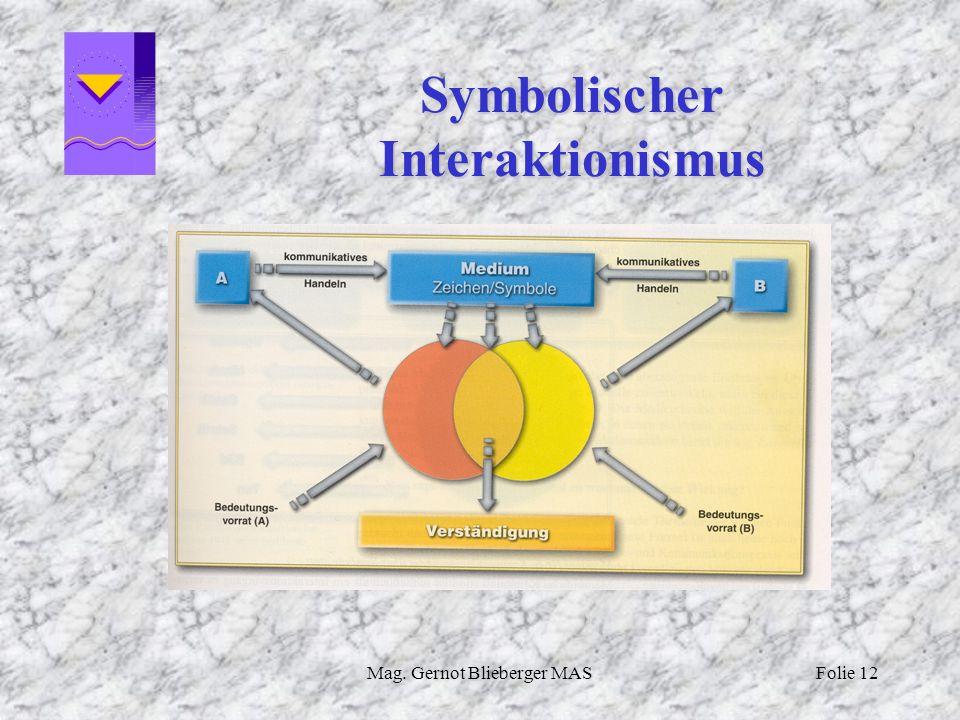 Mag. Gernot Blieberger MASFolie 12 Symbolischer Interaktionismus