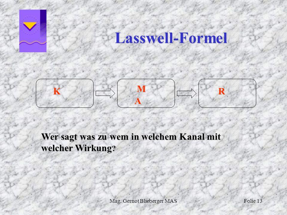 Mag. Gernot Blieberger MASFolie 13 Lasswell-Formel K M A R Wer sagt was zu wem in welchem Kanal mit welcher Wirkung ?