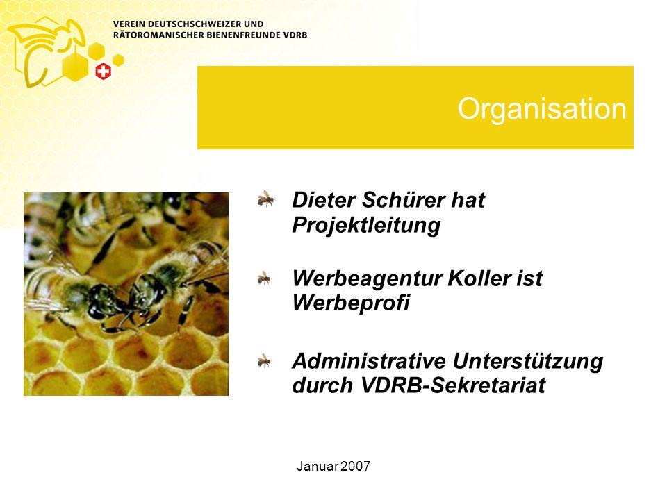 Januar 2007 Organisation Dieter Schürer hat Projektleitung Werbeagentur Koller ist Werbeprofi Administrative Unterstützung durch VDRB-Sekretariat