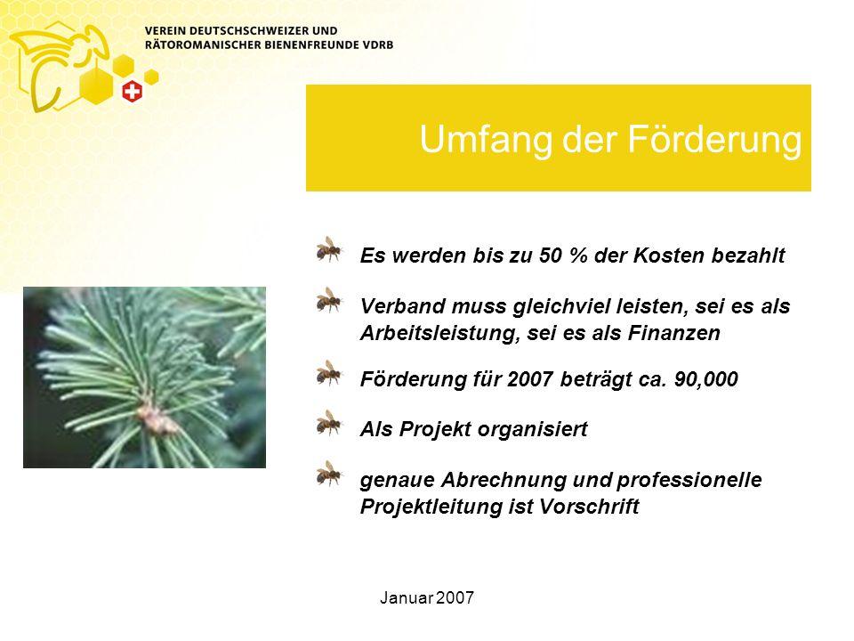 Januar 2007 Umfang der Förderung Es werden bis zu 50 % der Kosten bezahlt Verband muss gleichviel leisten, sei es als Arbeitsleistung, sei es als Fina