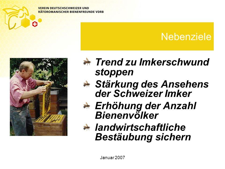 Januar 2007 Nebenziele Trend zu Imkerschwund stoppen Stärkung des Ansehens der Schweizer Imker Erhöhung der Anzahl Bienenvölker landwirtschaftliche Bestäubung sichern