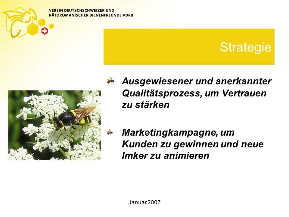 Januar 2007 Strategie Ausgewiesener und anerkannter Qualitätsprozess, um Vertrauen zu stärken Marketingkampagne, um Kunden zu gewinnen und neue Imker zu animieren