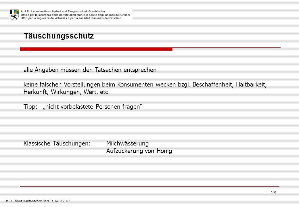 Dr. D. Imhof, Kantonschemiker GR, 14.03.2007 28 Täuschungsschutz alle Angaben müssen den Tatsachen entsprechen keine falschen Vorstellungen beim Konsu