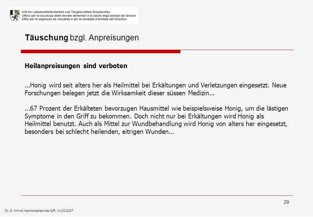 Dr.D. Imhof, Kantonschemiker GR, 14.03.2007 29 Täuschung bzgl.