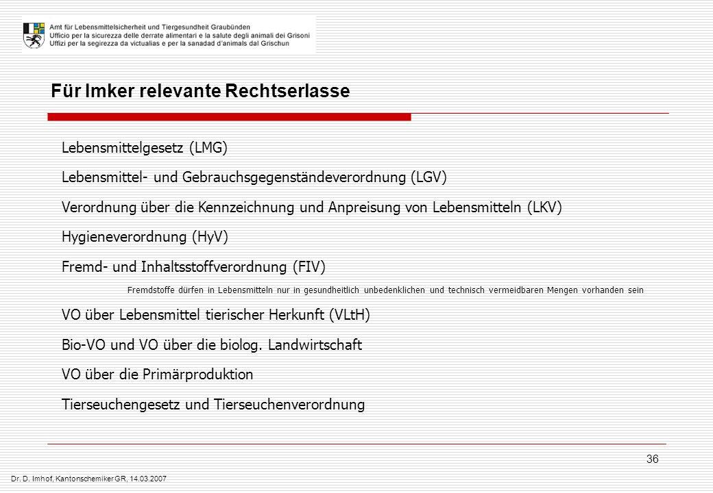 Dr. D. Imhof, Kantonschemiker GR, 14.03.2007 36 Lebensmittelgesetz (LMG) Lebensmittel- und Gebrauchsgegenständeverordnung (LGV) Verordnung über die Ke
