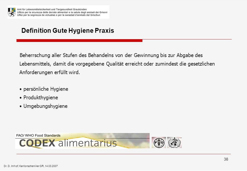 Dr. D. Imhof, Kantonschemiker GR, 14.03.2007 38 Beherrschung aller Stufen des Behandelns von der Gewinnung bis zur Abgabe des Lebensmittels, damit die