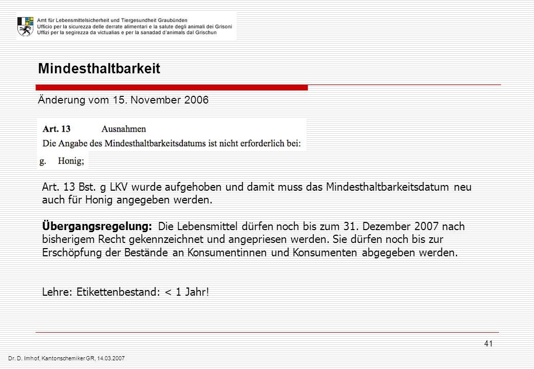 Dr. D. Imhof, Kantonschemiker GR, 14.03.2007 41 Art. 13 Bst. g LKV wurde aufgehoben und damit muss das Mindesthaltbarkeitsdatum neu auch für Honig ang