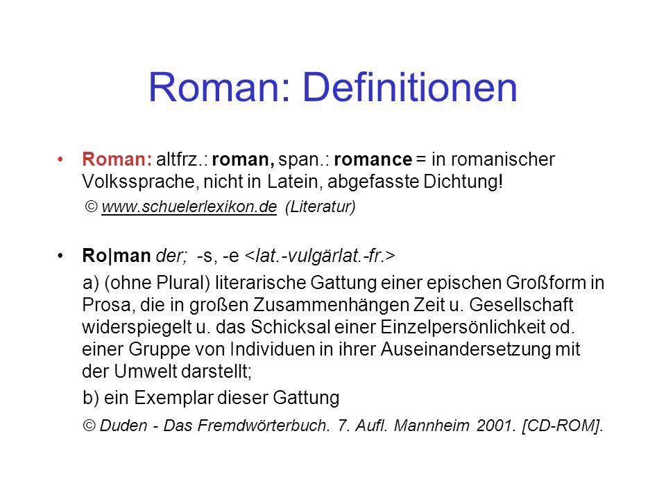 Roman: Definitionen Roman: altfrz.: roman, span.: romance = in romanischer Volkssprache, nicht in Latein, abgefasste Dichtung.