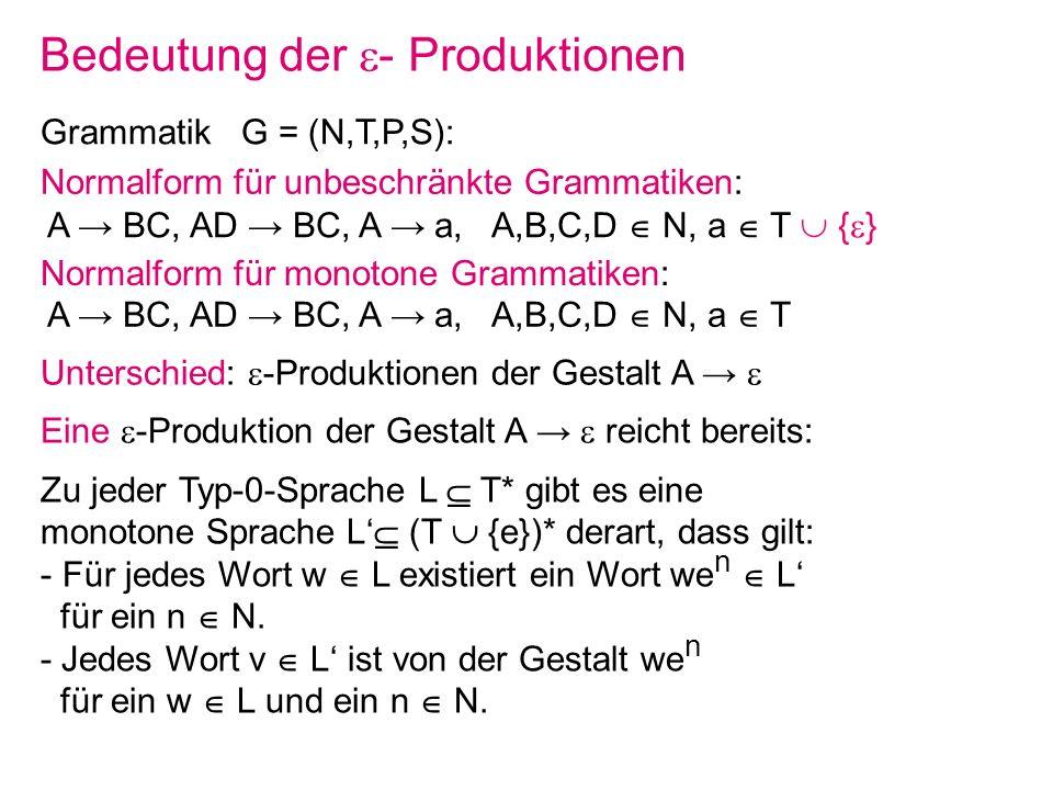 Bedeutung der - Produktionen Grammatik G = (N,T,P,S): Normalform für monotone Grammatiken: A BC, AD BC, A a, A,B,C,D N, a T Normalform für unbeschränk