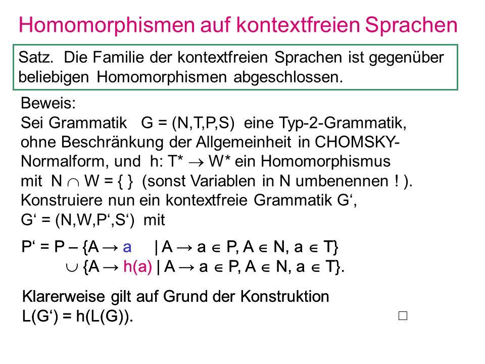 Homomorphismen auf kontextfreien Sprachen P = P – {A a | A a P, A N, a T} {A h(a) | A a P, A N, a T}. Klarerweise gilt auf Grund der Konstruktion L(G)