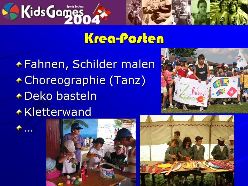 Krea-Posten Fahnen, Schilder malen Choreographie (Tanz) Deko basteln Kletterwand…