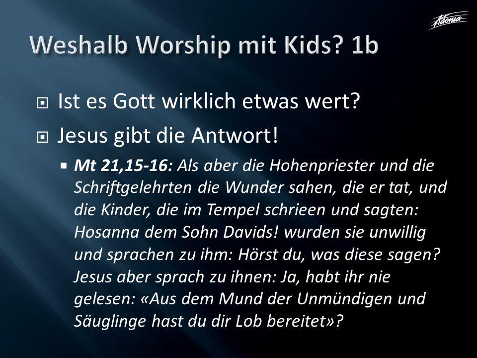 Ist es Gott wirklich etwas wert? Jesus gibt die Antwort! Mt 21,15-16: Als aber die Hohenpriester und die Schriftgelehrten die Wunder sahen, die er tat