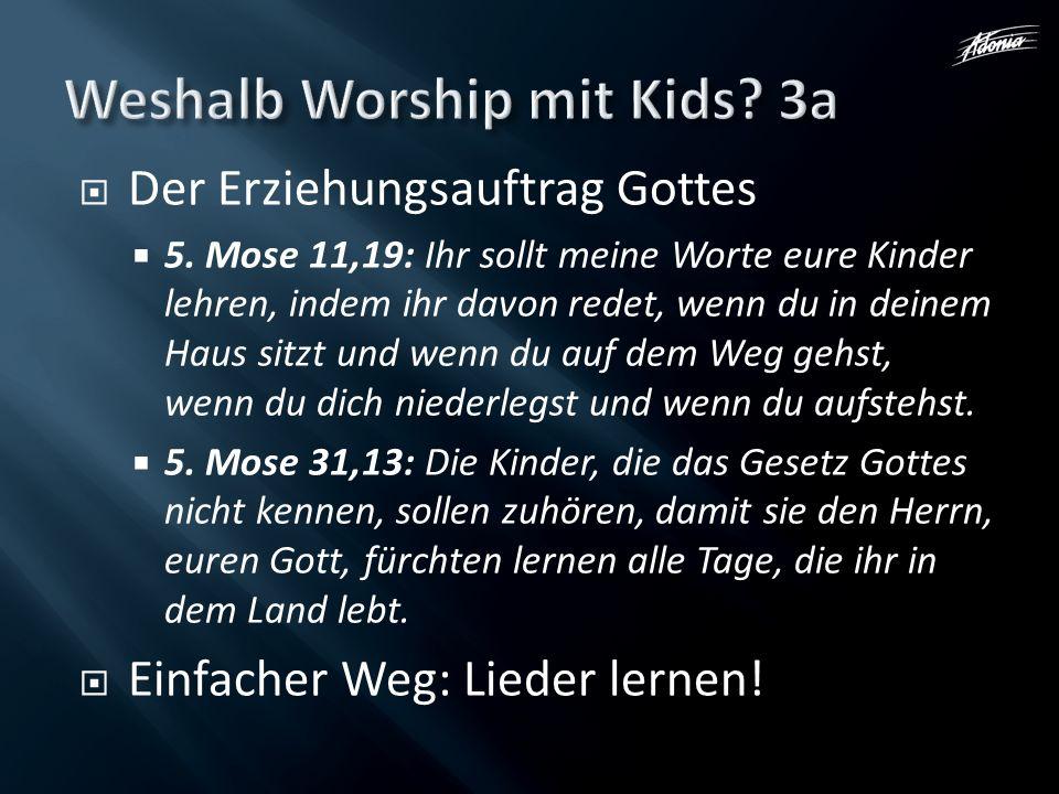 Der Erziehungsauftrag Gottes 5. Mose 11,19: Ihr sollt meine Worte eure Kinder lehren, indem ihr davon redet, wenn du in deinem Haus sitzt und wenn du