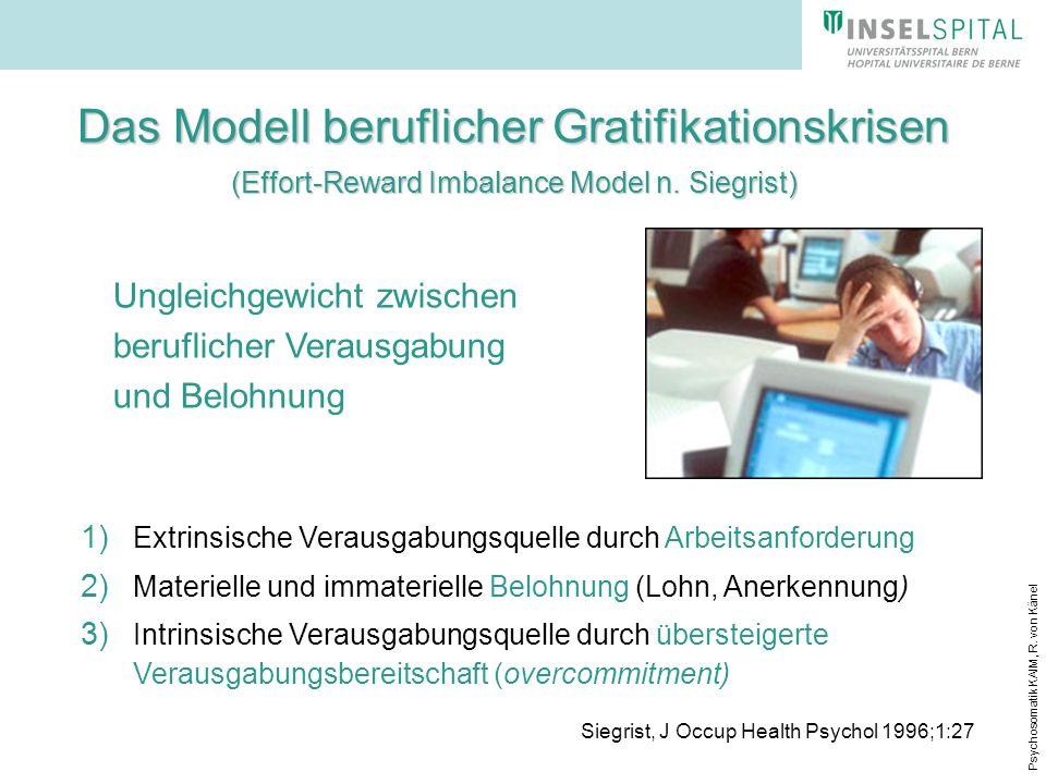 Psychosomatik KAIM, R. von Känel Das Modell beruflicher Gratifikationskrisen (Effort-Reward Imbalance Model n. Siegrist) 1) Extrinsische Verausgabungs
